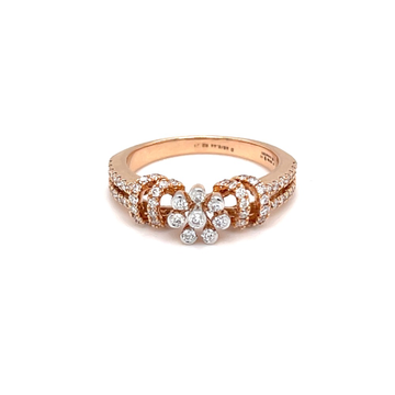 Floral design with dual band diamond ring in rose...