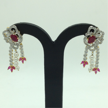 White and RedCZ Stones Ear HangingsJER0049