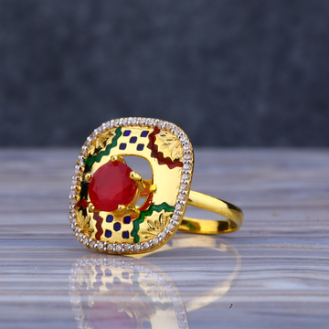 22KT Gold Gemstone Fancy Ladies Long Ring LLR193