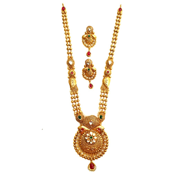 22k Gold Antique Rajwadi Necklace With Earrings MGA - GLS089