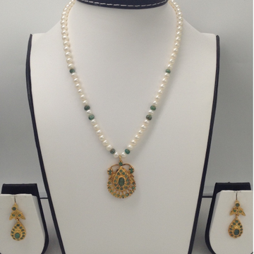 Green Emeralds Jugni Pendent Set With Round Pearls Mala JPS0023