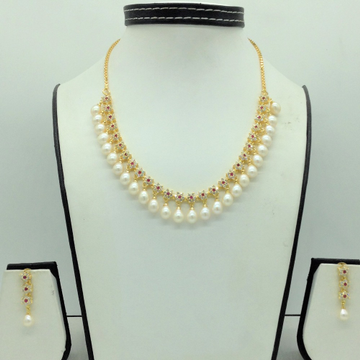 White and RedCZ Stones And Tear Drop Pearls Neckl...
