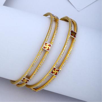 22kt gold swastik design copper kadli bangle