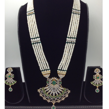 White and green cz rani haar set with 5 lines flat pearls mala jps0435