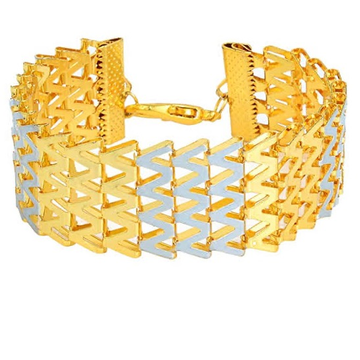 22kt, 916 Hall-Marked broad singaporean pattern Yellow Gold Bracelet For Men JKB070