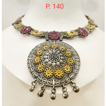 Antique gold texture oxidised silver with pink stone choker Necklace set 1659