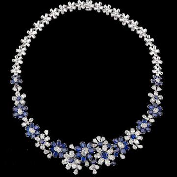 Diamonds and Blue Sapphires NecklaceJSJ0131