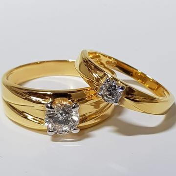 22 ct gold couple ring round diamond
