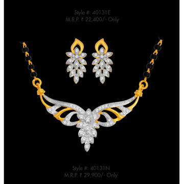 18kt, yellow gold and real diamond heavy Mangalsutra with tops