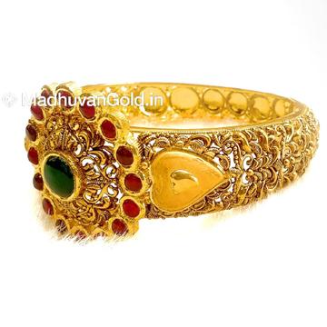22k Gold Round Shape Antique Kada Bangle MGA - GP066