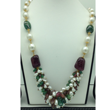 White South Sea Round Pearls; KC Pearls With Emerald And Tormaline Oval Tumbles Gold Taar Necklace JGT0008