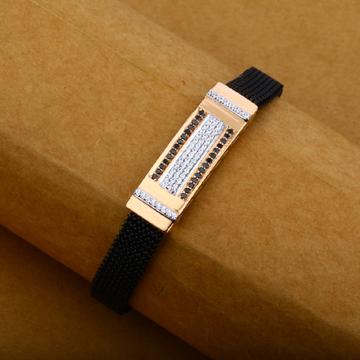 Mens Rose Gold 18K Cz Fancy Leather Spring Bracelet-MLB12