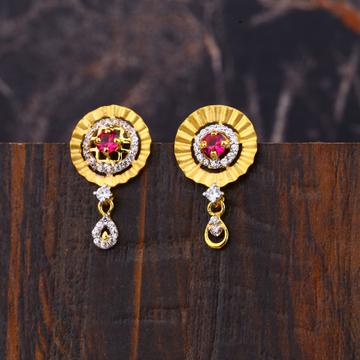 Ladies 916 Gold Fancy Diamond Earrings -LFE157