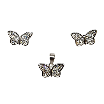 925 Sterling Silver Butterfly Shaped Pendant Set M...