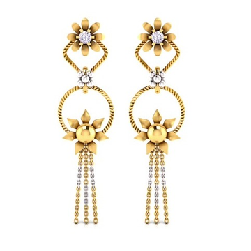 22KT Gold Floral Design Latkan Earring SO-E008 by S. O. Gold Private Limited