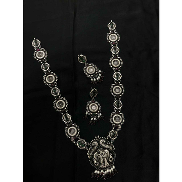 92.5 Sterling Silver Full Heavy Weight Rajwadi Full Size Necklace Set Ms-3951