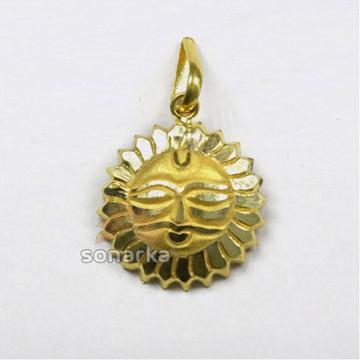 916 Hallmarked Gold Sun God Mask Surya Pendant