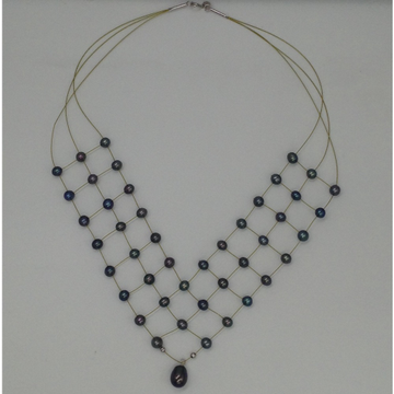 Freshwater blackpotatopearls 3 layers jaali wire necklace