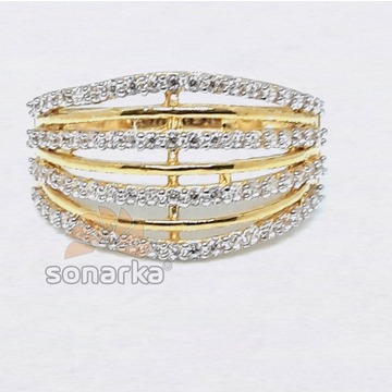 Modern Design CZ Diamond 916 Gold Ring for Ladies