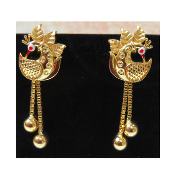 22kt gold cz casting peacock earrings with chain tassels