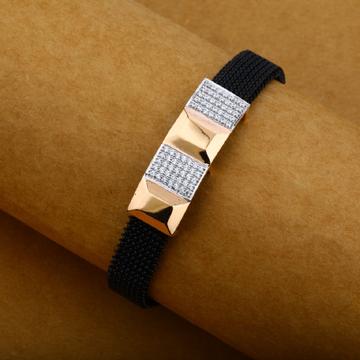 Mens 18K Diamond Rose Gold Spring Leather Bracelet-MLB13