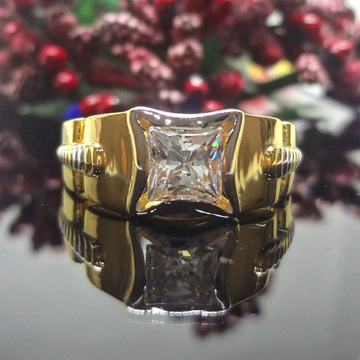 916 Gold Cz Solitaire Gents Ring