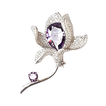 925 Sterling Silver Flower Shaped Brooch MGA - BCS0005