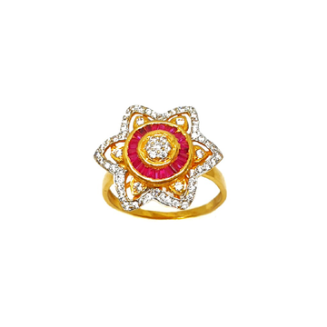 22K Gold Flower Shaped Modern Ring MGA - LRG0180