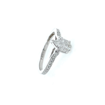 Pear shaped solitaire diamond ring for engagement in 18k white gold - vvs/vs fg - 2.510 grams - 0lr38