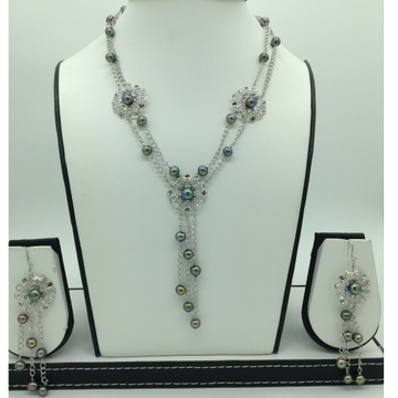Freshwater BlackPearls Silver Necklace Set JNC009...