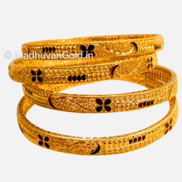 22K Gold Antique Kada Bangles 4 Set