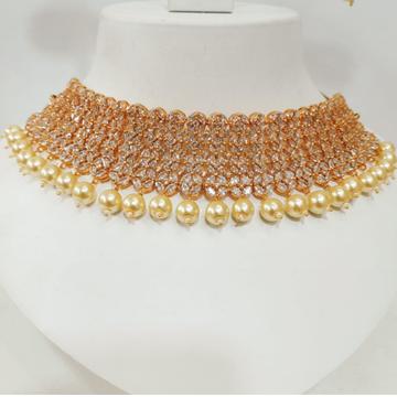 Gold plated diamond & pearl wedding choker necklace set 1224