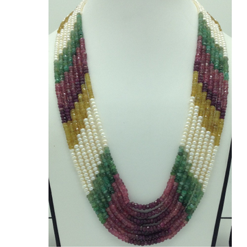 Freshwater WhitePearls with Stones 7Layers Rainbow Necklace JPM0371
