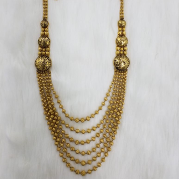22KT Gold Beads Designer Long Necklace Set