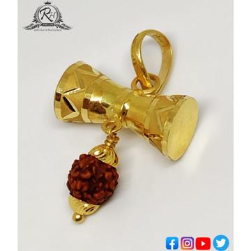 22 carat gold shiva trishul damru pendant RH-PN557