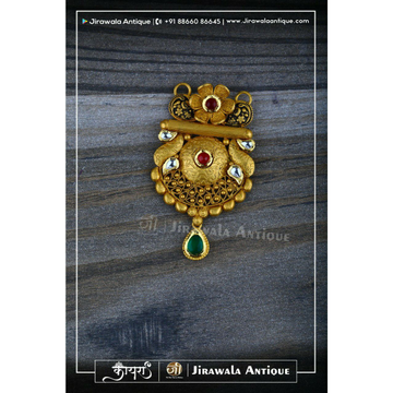 Antique jadtar 916 kundan mangalsutra pandant with flower chapai work