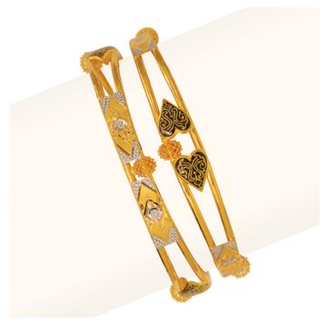 916 Heart Design Gold Vakiya Copper Kadli Bangle RJV-434