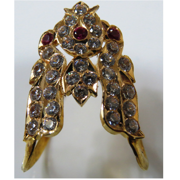 22kt Gold CZ Close Setting South Indian Peacock Design Vanki ring for women
