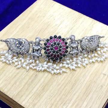Handcraft pure silver temple choker of goddess lak...