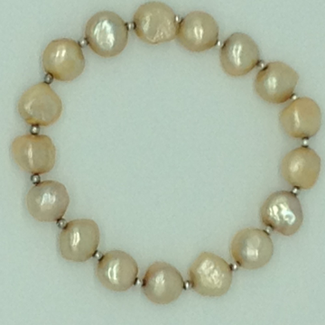 Golden Button BaroquePearls With White Jaco Balls1Layer Elastic BraceletJBG0189