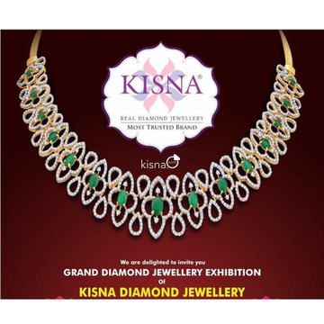 916 Gold Green Stone With Real Diamond Wedding Necklace Set