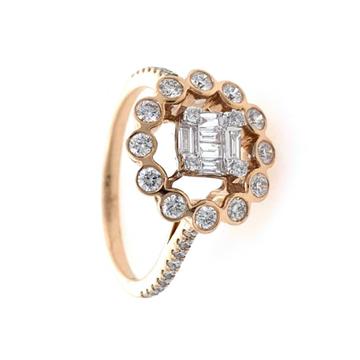 18kt / 750 rose gold floral designer diamond ladie...