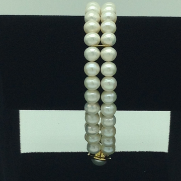 White Round Pearls 2 Layers Bracelet JBG0099