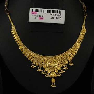 22Kt Gold Kalkatti Design Necklace Set by