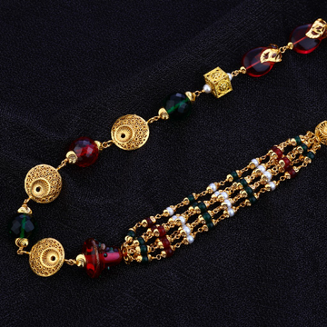 Ladies 916 Designer Gold Moti Colour Stone Mala-AC121
