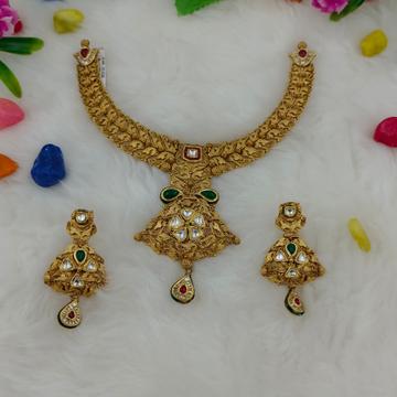 916 Gold Antique Design Hallmark Necklace Set  by Ranka Jewellers