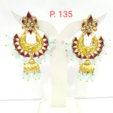 Gold plated jhumka earring with triangle shape Pink stone 1543