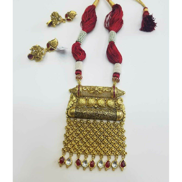 916 Gold Ladies Fusion Jadtar Jaisalmeri Bridal Necklace Set