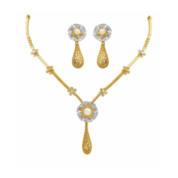 22kt gold flower design necklace set pj-n001