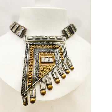 Antique Oxidised Silver with hanging gold plated moti necklace set 1650